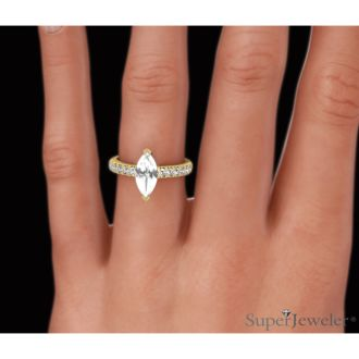 1 1/3 Carat Marquise Shape Diamond Engagement Ring In 14 Karat Yellow Gold