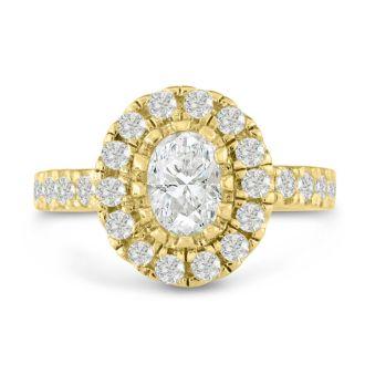 1 1/2 Carat Oval Shape Diamond Engagement Ring in 14 Karat Yellow Gold
