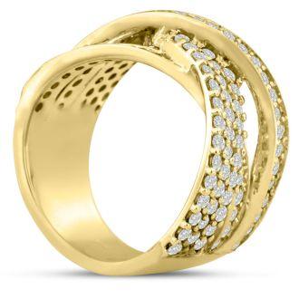 1 3/4ct Five Row Criss Cross Diamond Ring in 14 Karat Yellow Gold