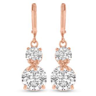 Elegant Swarovski Crystal Hoop Earrings In Rose Gold, 1 Inch