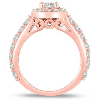 1 1/2 Carat Halo Diamond Engagement Ring in 14 Karat Rose Gold