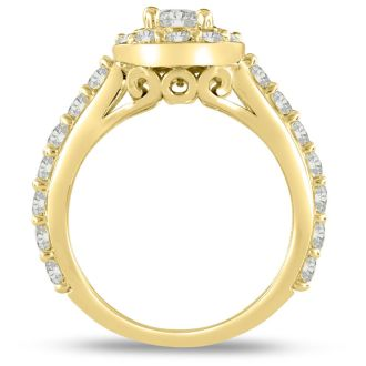 1 3/5ct Halo Diamond Engagement Ring Crafted in 14 Karat Yellow Gold