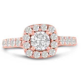 1 3/4ct Halo Diamond Engagement Ring Crafted in 14 Karat Rose Gold