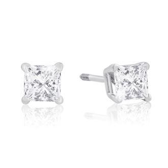 1/2ct Princess Diamond Stud Earrings in 14k White Gold