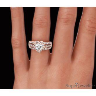 1 2/3 Carat Heart Halo Diamond Engagement Ring in 14 Karat Rose Gold