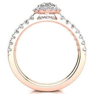 1/2 Carat Pave Halo Diamond Bridal Set in 14k Rose Gold
