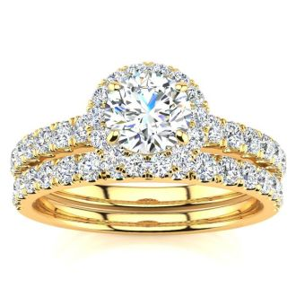 1/2 Carat Pave Halo Diamond Bridal Set in 14k Yellow Gold