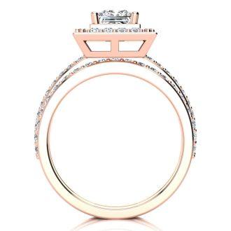 1 1/2 Carat Princess Cut Floating Pave Halo Diamond Bridal Set in 14k Rose Gold