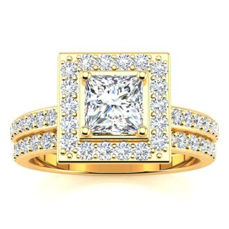1 1/2 Carat Princess Cut Floating Pave Halo Diamond Bridal Set in 14k Yellow Gold