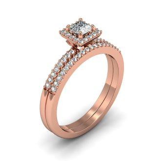 1/2 Carat Princess Cut Pave Halo Diamond Bridal Set in 14k Rose Gold