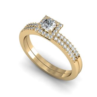 1/2 Carat Princess Cut Pave Halo Diamond Bridal Set in 14k Yellow Gold
