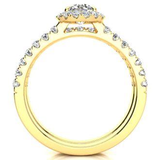 1 Carat Floating Pave Halo Diamond Bridal Set in 14k Yellow Gold