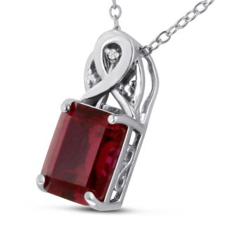 3ct Emerald Cut Ruby and Diamond Necklace