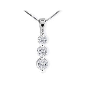 1ct Three Diamond Drop Style Diamond Pendant In 14k White Gold