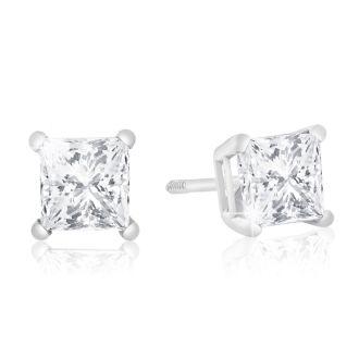 1ct Diamond Stud Earrings in 14k WG