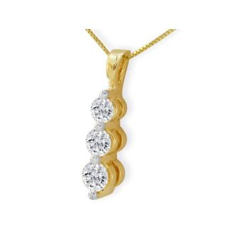 1ct Three Diamond Drop Style Diamond Pendant In 14k Yellow Gold