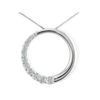 3/4ct Circle Style Journey Diamond Pendant, 14k White Gold