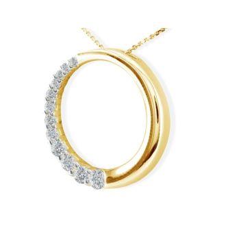 3/4ct Circle Style Journey Diamond Pendant, 14k Yellow Gold