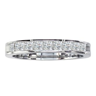 1/2ct Princess Diamond Channel Set Band, 14k White Gold, LIMITED SIZES LEFT