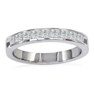1ct Princess Diamond Channel Set Band, 14k White Gold, ONLY A FEW RINGS LEFT