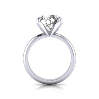 4.23 Carat Round Cut Diamond Solitaire Engagement Ring In Platinum
