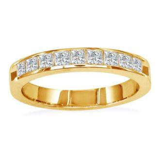 1ct Princess Diamond Channel Set Band, 14k Yellow Gold