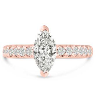 1 1/3 Carat Marquise Shape Diamond Engagement Ring In 14 Karat Rose Gold