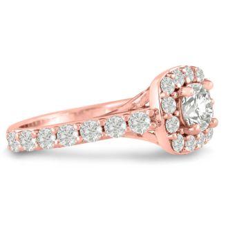 1 3/4 Carat Halo Diamond Engagement Ring in 14 Karat Rose Gold