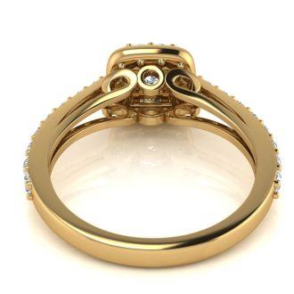 2 Carat Halo Diamond Engagement Ring in 14 Karat Yellow Gold