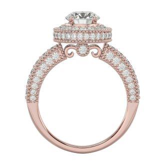 2 1/2 Carat Halo Diamond Engagement Ring In 14 Karat Rose Gold