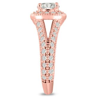 1 3/4 Carat Split Shank Halo Diamond Engagement Ring in 14 Karat Rose Gold