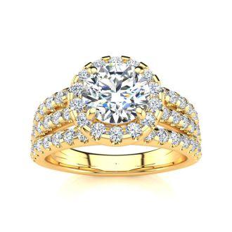2 Carat Round Halo Diamond Engagement Ring in 14 Karat Yellow Gold