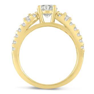 1 1/5 Carat Round Brilliant Diamond Engagement Ring In 14 Karat Yellow Gold