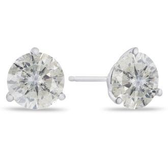 2 Carat Round Shape Diamond Martini Stud Earrings In 14 Karat White Gold