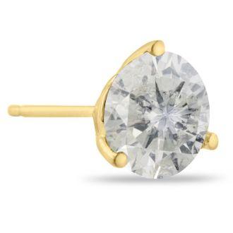 2 Carat Round Shape Diamond Martini Stud Earrings In 14 Karat Yellow Gold