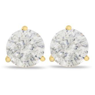 2ct Fine Diamond Stud Earrings in 14k Yellow Gold, Clarity Enhanced
