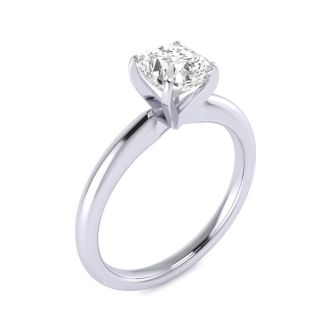 1 Carat Cushion Cut Diamond Solitaire Engagement Ring In 14K White Gold
