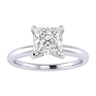 1 Carat Princess Cut Diamond Solitaire Engagement Ring In 14K White Gold
