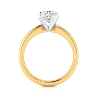 1 Carat Princess Cut Diamond Solitaire Engagement Ring In 14K Yellow Gold