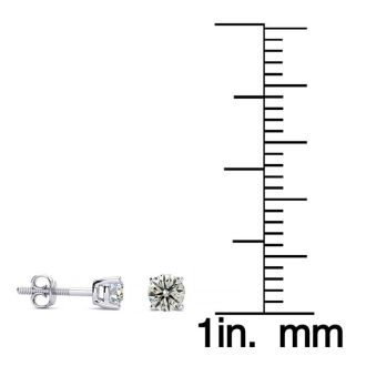 1/4 Carat Natural Diamond Stud Earrings In 14 Karat White Gold