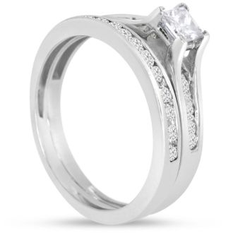 1/2 Carat Princess And Round Diamond Bridal Set In 14 Karat White Gold