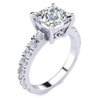 3 1/2 Carat Princess Cut Diamond Engagement Ring Including 2 1/2 Carat Center Diamond In 14K White Gold