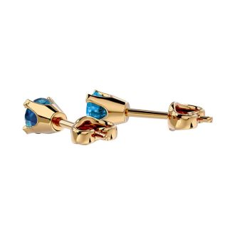 1/4 Carat Blue Diamond Stud Earrings In Yellow Gold