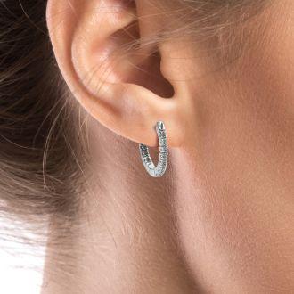 1/4ct Inside-Out Style Diamond Hoop Earrings in 14k White Gold
