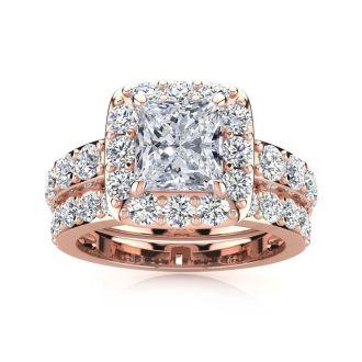 2 1/4 Carat Princess Halo Diamond Bridal Set in 14k Rose Gold