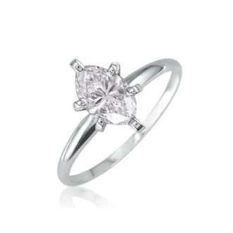 1/3 Carat Marquise Diamond Solitaire Ring In 14K White Gold