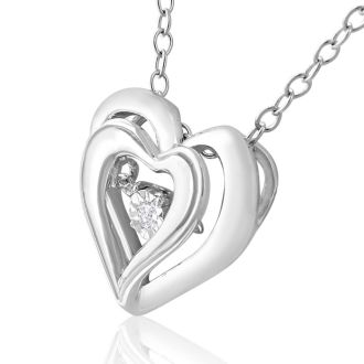 Shimmering Stars Diamond Heart Necklace