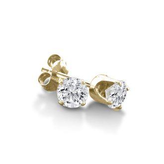 1/3 Carat Certified Diamond Stud Earrings In 10 Karat Yellow Gold
