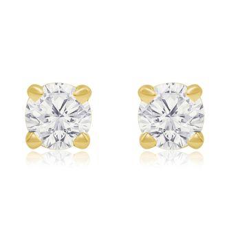 1/4 Carat Diamond Stud Earrings In Yellow Gold
