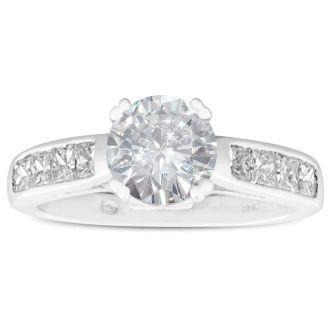 2 Carat Fine Diamond Engagement Ring In 14 Karat White Gold